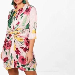 Boohoo Stripe + Floral Twist Front Shirt Dress